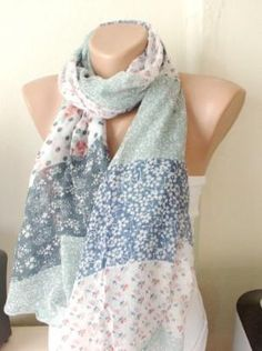 SPRING Soft blue,grey,red tones Cotton Mixcolor Spring Scarf