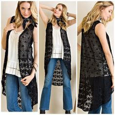 New Arrival • Black Crochet Vest Cardigan Duster This is a must have in your closet . Black soft feminine crochet vest perfect for the added layer to complete your look . Wear it year round . Over your boho chic look . Black only . Sizes S M L Nwt . Please comment for personal listing . Vivacouture Sweaters Cardigans