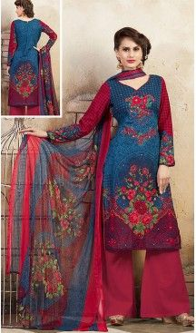Blue Color Cotton Straight Cut Style Geometric Print Palazzo Kameez | FH514278271 #casual, #salwar, #kameez, #online, #trendy, #shopping, #latest, #collections, #summer,#shalwar, #hot, #season, #suits, #cheap, #indian, #womens, #dress, #design, #fashion, #boutique, #heenastyle, #clothing, #cotton, #printed, #materials, @heenastyle