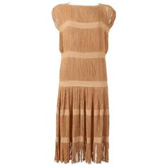 Preowned Fringed Panelled Linen Flapper Dress, C. 1920s ($673) ❤ liked on Polyvore featuring dresses, brown, beige dress, roaring twenties dresses, gatsby dress, 20s flapper dress and 1920s gatsby dress