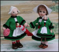 Becassine and Bleuette miniatures 2 2/3 inches tall.   luciewinskydolls.com