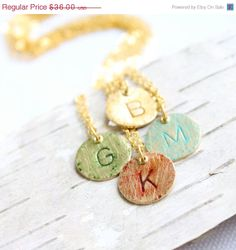 20% off ON SALE Custom Personalized Pendant Necklace Monogram Letter Charm Patina Initial Handmade Fashion Jewellery