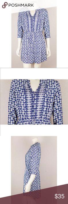 Lucky Brand Blue White Print Pleated Dress Lucky Brand Blue White Print Drawstring 3/4 Sleeve Pleated Pocketed Dress Medium  Bust: 21  Waist: 15  Length: 32 Lucky Brand Dresses Midi