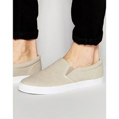 ASOS Slip On Sneakers in Stone ($17) ❤ liked on Polyvore featuring men's fashion, men's shoes, men's sneakers, stone, asos mens shoes, mens slip on sneakers, mens slipon shoes, mens canvas slip on sneakers and mens canvas sneakers