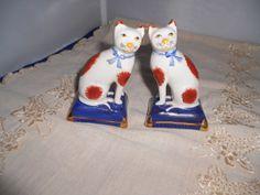 Staffordshire like Antique Cat Figurines 4 Pair by vintagebyrudi, $16.99