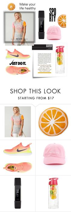 """Make your life healthy 🍊"" by fashionam45 ❤ liked on Polyvore featuring Post-It, American Fighter, Nordstrom Rack, NIKE, Fitbit and Infruition"