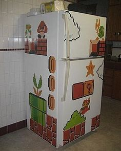 101 of the very best home DIY Decorating Ideas And you might well need a step ladder to do most of them http://www.ladders-online.com/uk/step-ladders.html // Number: 4  Room: Kitchen Idea Type: Decal Stickers Idea Details: Super Mario Fridge Stickers Other Tools Needed: N/A #diyproject #diyhomedecor #stepladders