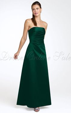 Luxurious A-line Ankle-length Strapless Dark Green Satin Dress