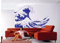 Huge Kanagawa Wave Wall Decal  Hokusai Wall Decal Sticker Art Graphic