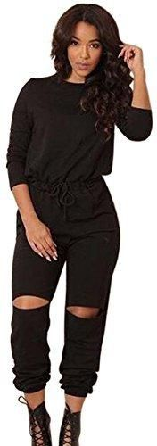 Aro Lora Women's One-shoulder Casual Wear Ripped Sport Jumpsuits Rompers Large Black