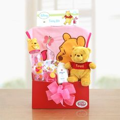 Winnie the Pooh Baby Girl Let #Winnie the Pooh welcome the new little Honey into their lives with this adorable box of #baby #girl delights. This basket features everything needed to make Baby's first days warm and cozy and to show how much you care. $46.99 + s/h - http://shop.o2o.com/item.php?LBB-zRw964e8O-19138 http://www.kandms.labellabaskets.com/