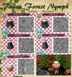 "mistwood-acnl: "" Pagan Forest Nymph: • Dress • Hair Wreath I hope people use this. I'll make it available in a variety of colors. (dress & wreath) """