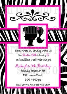 Vintage Barbie Birthday Invitation