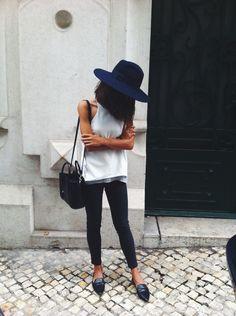 le basic. black and white fedora black jeans white tank loafer slide street style