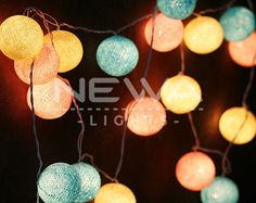 20 Pastel Beige Pink Blue Cotton Ball Fairy Lights Indoor String Lights Christmas Lights Gifts Bedroom Nursery Party Wall Hanging Home Decor