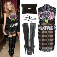 Jade Thirlwall: Christopher Kane Short Dress, Steve Madden Highting Boots