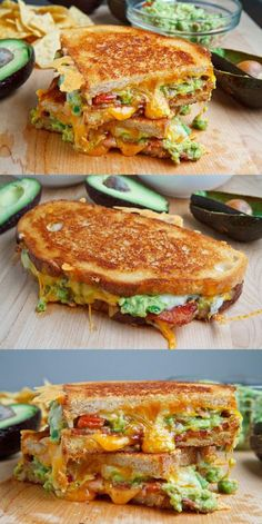 Bacon Guacamole Grilled Cheese Sandwich - A buttery and toasty grilled cheese sandwich stuffed with cool and creamy guacamole, crispy bacon a - I Love Food, Good Food, Yummy Food, Tasty, Grilled Cheese Recipes, Grilled Cheese With Avocado, Avocado Sandwich Recipes, Vegetarian Sandwich Recipes, Club Sandwich Recipes
