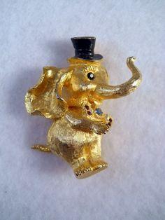 Vintage MYLU Elephant Rhinestone Brooch Rare Figural $45