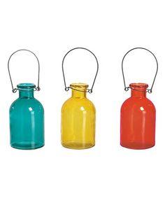Look at this #zulilyfind! Assorted Color Bottle Vase - Set of Three #zulilyfinds