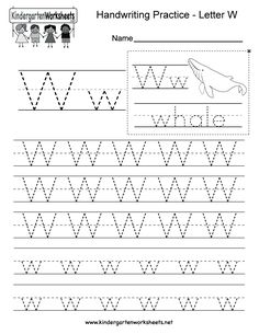 Letter W handwriting practice worksheet for kindergarteners. This series of handwriting alphabet worksheets can also be cut out to make an original alphabet card or booklet. Alphabet Writing Worksheets, English Worksheets For Kindergarten, Handwriting Practice Worksheets, Handwriting Alphabet, Alphabet Worksheets, Handwriting Ideas, Tracing Worksheets, Kindergarten Writing, Cursive