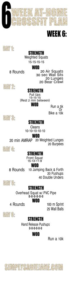 Week 6 at home Crossfit