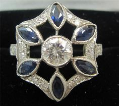 Stunning art deco sapphire and diamonds platinum unique dress ring