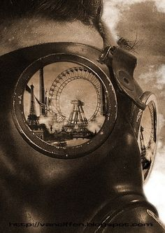 apocalyptic, circuses, ferris wheels, gas masks, goggles, masks, reflection