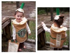 Starbucks children's halloween costumes - too cute! Costume Halloween, Starbucks Halloween Costume, Looks Halloween, Cute Costumes, Costume Ideas, Baby Halloween, Homemade Halloween, Candy Costumes, Halloween Clothes