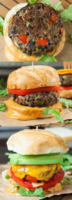 These healthy Chipotle Black Bean Veggie Burgers are loaded with veggies and topped with an irresistible homemade chipotle honey mustard sauce sure to impress vegetarians and meat-eaters alike!