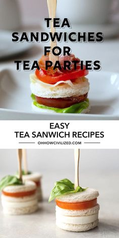 These tea sandwich recipes from Oh, How Civilized are so easy to make. Tea sandwiches are perfect bite-sized sandwiches made to be eaten in the afternoon at tea time. Looking for tea sandwich recipes for your next tea party? If you're looking for finger sandwiches that are adorable and tasty, I've got them here! #teasandwhiches #fingersandwhiches #teatime #afternoontea Easy Finger Sandwiches, Tea Party Sandwiches, Easy Sandwich Recipes, Easy Recipes, Tea Party Snacks, Tea Time Snacks, Tea Party Recipes, High Tea Recipes, Tea Party Menu