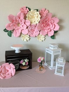 Paper Flowers-Set of 8 Paper Flower Decor, Crepe Paper Flowers, Paper Flower Backdrop, Flower Wall Decor, Gold Paper, Pink Paper, Butterfly Crafts, Flower Crafts, Paper Flower Tutorial