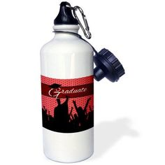 3dRose Red and Black Graduation with Cheering Crowd of Graduates., Sports Water Bottle, 21oz