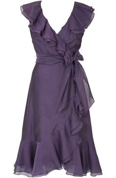 Purple wrap dress with. Ash for Britt's wedding? You look great in this color! Frill Dress, I Dress, Wrap Dress, Pretty Dresses, Beautiful Dresses, Flowy Dresses, Sleeve Dresses, Strapless Dress, Dress To Impress