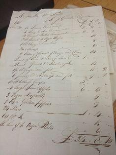 J. Gunter Confectioner bill to William Pitt dated November 20, 1797 (Photo by Stephenie Woolterton https://www.pinterest.com/pin/266134659201219182/)