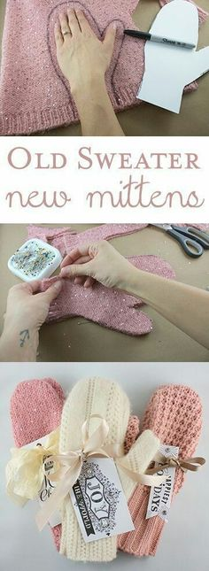 DIY Christmas Gifts – My Honeys Place DIY Sweater Mittens Christmas Gift. Take an old sweater and make new mittens. Craft Gifts, Diy Gifts, Fabric Crafts, Sewing Crafts, Alter Pullover, Diy Pullover, Pullover Upcycling, Diy Cadeau Noel, Sewing Patterns