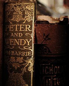 Old books. love the color and quality of old paper! Peter and Wendy. Old Books, Antique Books, Vintage Books, Tableaux Vivants, Jm Barrie, Peter And Wendy, Film Disney, Never Grow Up, I Love Books