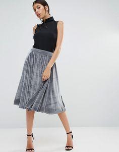 Image 1 ofBoohoo Velvet Midi Skirt