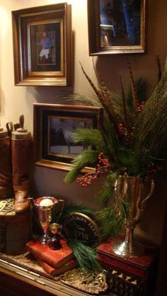 Equestrian-The Polo House, the tack room. Trophy with feathers and greens. English Country Manor, English Style, English House, Equestrian Decor, Equestrian Style, Equestrian Fashion, Town And Country, Country Decor, Country Houses