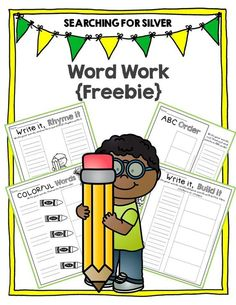 Four WORD WORK activities for {FREE}!!! Searching for Silver