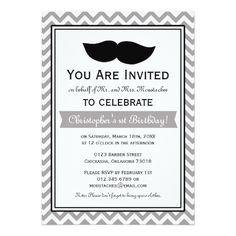 Gray Boy Moustache Chevron Birthday Party Card