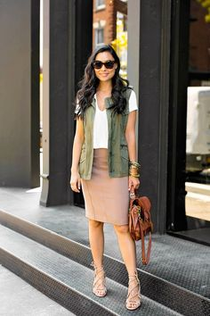 With Love From Kat // White top+Camel Pencil Skirt+nude lace up sandals+khaki vest+brown shoulder bag+sunglasses. Summer Outfit 2016