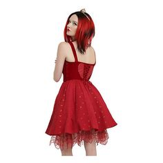 Disney Alice Through The Looking Glass Red Queen Heart Dress Hot Topic ($64) ❤ liked on Polyvore featuring dresses, red sweetheart dress, red corset, long evening dresses, red cocktail dress and long red dress