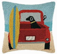 Beach Truck Black Labrador Retriever Dog Pillow – For the Love Of Dogs - Shopping for a Cause