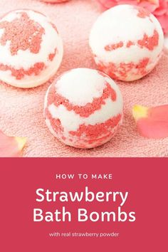 How to make a strawberry milkshake bath bomb without cornstarch. These cute and unique bath bombs would make a great gift. These natural bath bombs are fizzy and moisturizing. This DIY easy recipes uses essential oils for natural scents. Home made pretty and cool bath bombs. If you need ideas for summer bath bombs, try this recipe. #bathbomb #diy #strawberry Lotion Recipe, Sugar Scrub Recipe, Homemade Lip Balm, Homemade Soap Recipes, Natural Bath Bombs, Lip Balm Recipes, Strawberry Milkshake, Bath Bomb Recipes, Beauty Recipe