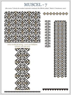 Semne Cusute: din MUNTENIA Bead Loom Patterns, Beading Patterns, Knitting Patterns, Embroidery Motifs, Embroidery Designs, Cross Stitch Designs, Cross Stitch Patterns, Smocking Plates, Wedding Album Design