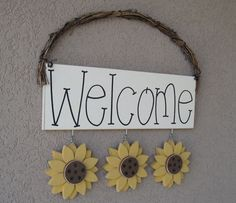 WELCOME SIGN (SUNFLOWERS) for wall and home decor on Etsy, $24.95