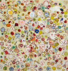 ANNA TORMA, FLORA, 2008  Hand embroidery on silk, appliqué and reverse appliqué with silk threads, 80 x 80 cm