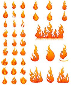 """5 Sets with 40 vector flame templates and spurts of flame for your graphic designs. Format: EPS stock vector clip art and illustrations. Free for download. Set name: """"Flame templates vector"""" for Adobe Illustrator. Theme tags: vector fire illustrations, flame."""