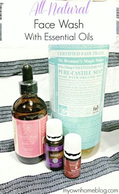 When I went onto my chemical-free essential oil journey my face wash was a top priority. I have the world's most sensitive skin. Thanks to Mother Nature once a month my skin goes crazy (ladies ya'll know what I mean) and by the time my skin has calmed dow Natural Face Wash, Natural Oils, Natural Skin Care, Natural Products, Body Products, Natural Beauty, Beauty Products, Young Living Oils, Young Living Essential Oils