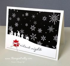 Simple & crisp holiday card in black, white with the splash of a red snowflake button. Sleigh Ride Dies. Shop for Stampin' Up! On-Line!